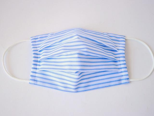 【在庫限りで終了です!】[ネコポスOK]ノーズワイヤー入り布マスク ボーダー柄 インナーガーゼ付き