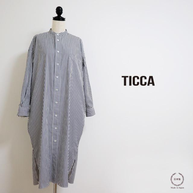TICCA ( ティッカ ) ハリのあるコットン  100%ノーカラースクエアビッグロングシャツ  ( ブラックロンドンストライプ )