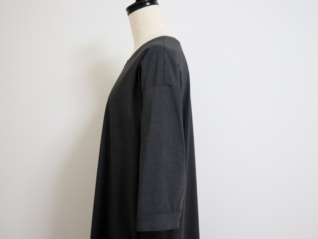 スタンプアンドダイアリー 家で洗えてシワになりにくい 小さめ襟のフレアタックワンピース