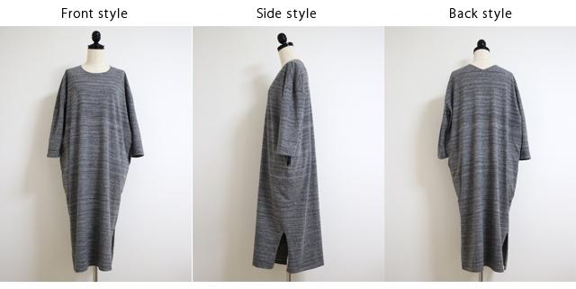 yohaku(余白)前後どちらでも使えるデザイン ふんわりとした肌触りの綿100% 筒状に編んだTUTU 長袖ワンピース(D0030)
