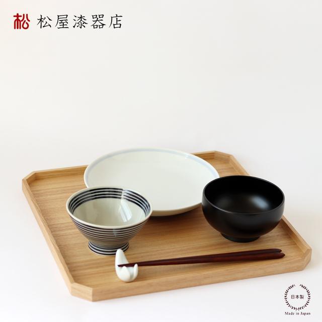 松屋漆器店 白木塗タモ11.0隅切盆