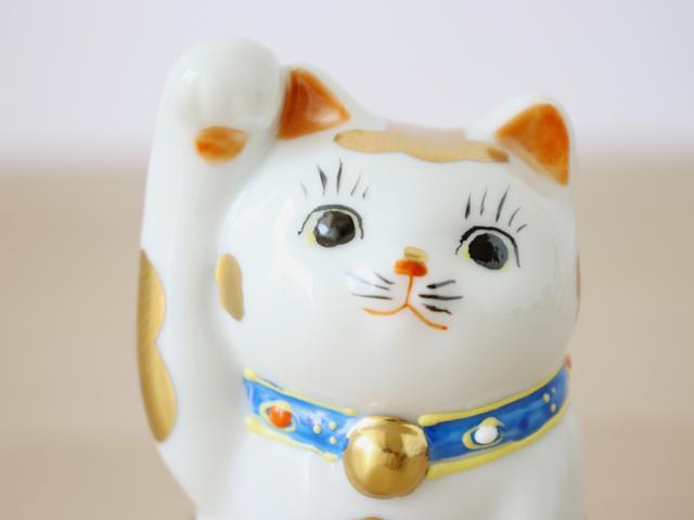 九谷焼 3号 招き猫 金ブチ  ( 右手 ・ 左手 )