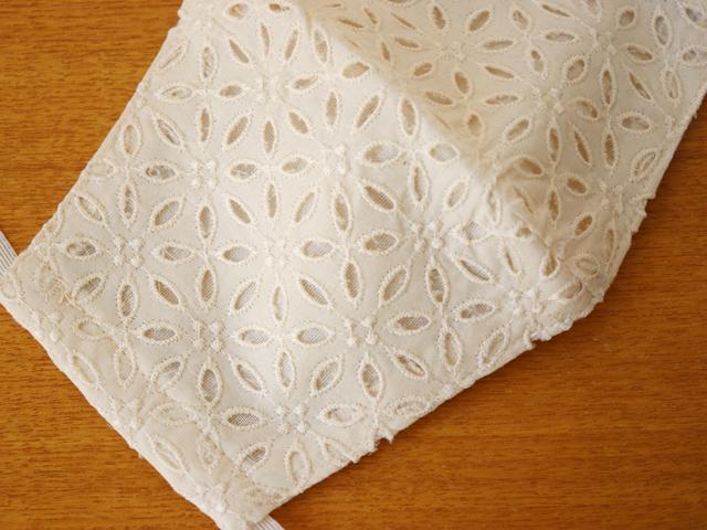 [ネコポスOK] 日本製 綿100% カットワークレース立体マスク