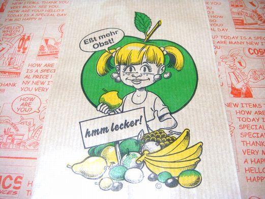 ドイツのフルーツ屋さん用 女の子 紙袋 マルシェ袋 5枚又は10枚セット【メール便OK】
