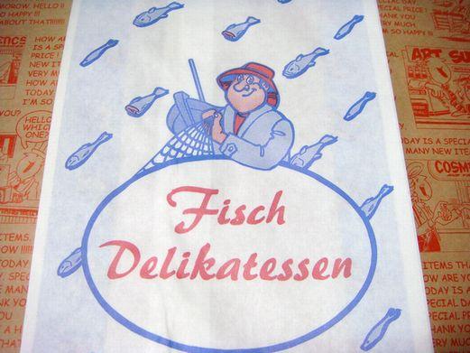 ドイツの魚屋さん用 釣り人 紙袋 マルシェ袋 5枚又は10枚セット【メール便OK】