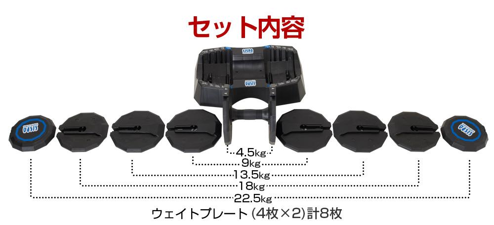 アジャスタブル ダンベル 22.5kg 可変式ダンベル (2個セット)