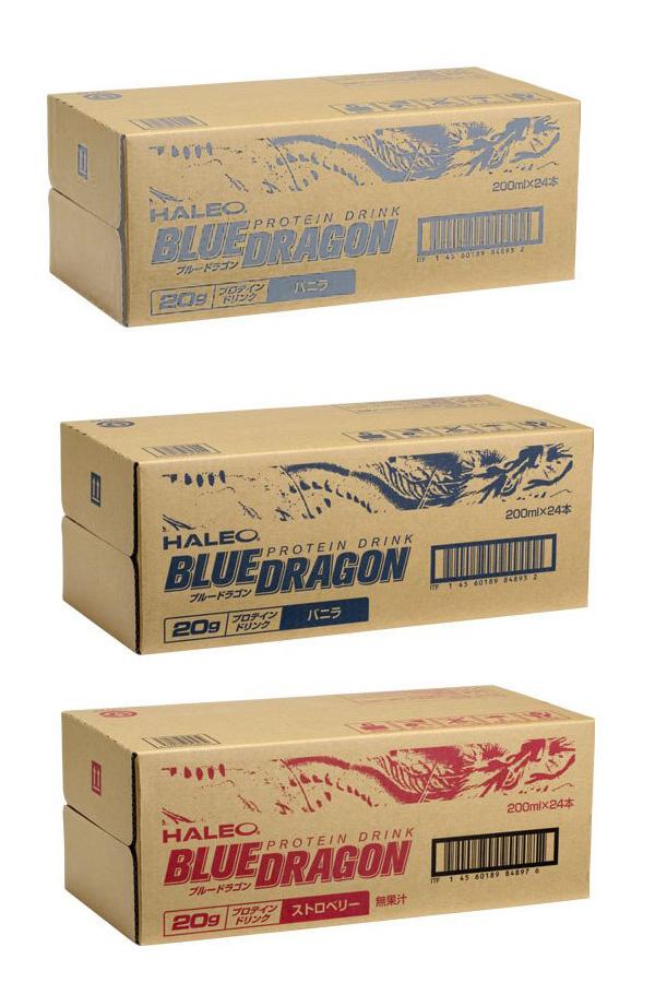 HALEO BLUE DRAGON(ハレオ ブルードラゴン)プロテインドリンク 200ml x 24本入 (バニラ味、ストベリー味、抹茶ラテ味)