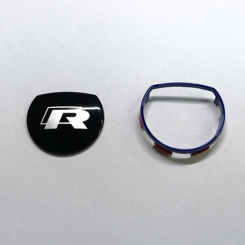 アウディS-tronicシフトノブ Rロゴ入れ+青枠加工