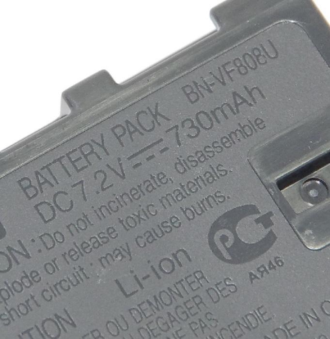 JVCKENWOOD JVC ビクター BN-VF808 純正リチウムイオンバッテリー 海外表記版 送料無料【ゆうパケット】