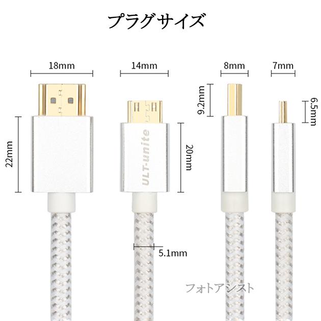 FUJIFILM フジフイルム対応  HDMI ケーブル HDMI (Aタイプ)-ミニHDMI端子(Cタイプ) 2.0規格対応 1.2m  (イーサネット対応・Type-C・mini)  銀色
