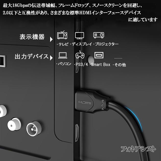 【互換品】Hisense対応  HDMI ケーブル 高品質互換品 TypeA-A  2.0規格  2.0m  Part 1  18Gbps 4K@50/60対応  送料無料【メール便の場合】