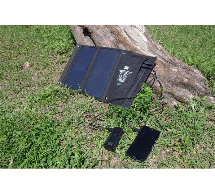 折りたたみ式太陽光充電パネル 15W (ソーラー発電) スマホ,アイフォン,タブレットなどの充電に【防災グッズ・キャンプ】