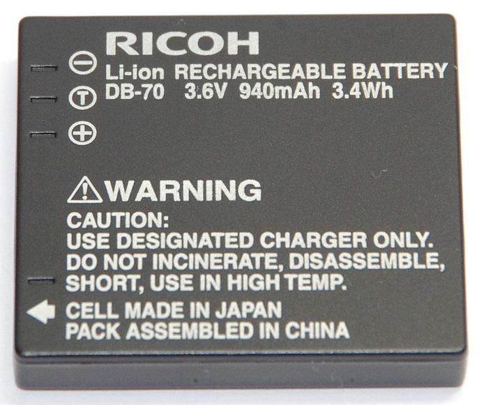 RICOH  リコー DB-70 純正リチャージャブルバッテリー 171960【DB70充電池】 送料無料【ゆうパケット】