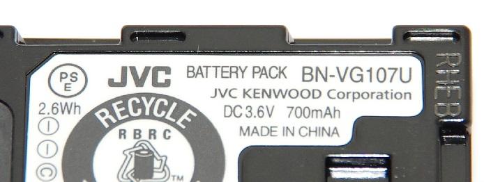 JVCKENWOOD JVC ビクター 純正品 BN-VG107  海外表記版 リチウムイオンバッテリー Everioエブリオ用充電池 送料無料【メール便の場合】