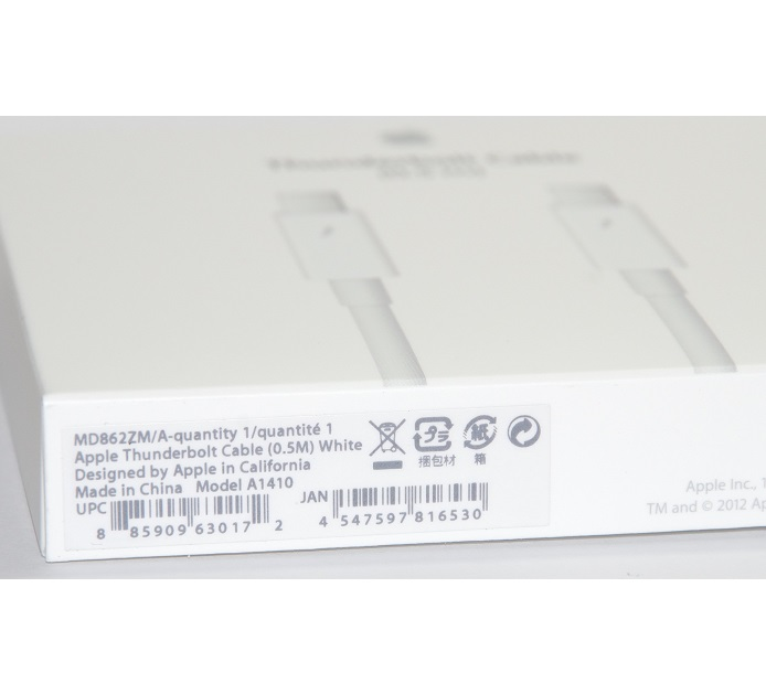 アップル純正  Apple Thunderboltケーブル(0.5 m)- ホワイト MD862ZM/A  国内純正品  送料無料【ゆうパケット】