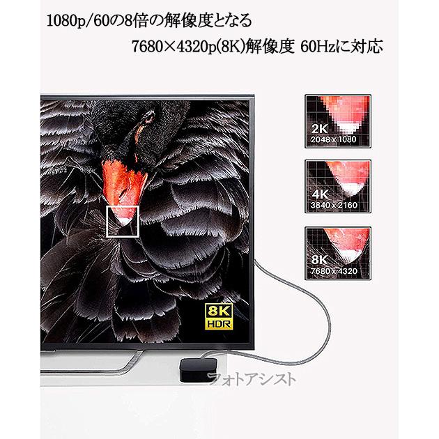 【互換品】FUNAI フナイ対応  HDMI 2.1規格ケーブル 8K対応  HDMI TypeA-A 2.0m  UltraHD  48Gbps 8K@60Hz (4320p) 4K@120Hz対応 動的HDR