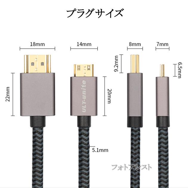 JVCケンウッド 対応  HDMI ケーブル HDMI (Aタイプ)-ミニHDMI端子(Cタイプ) 2.0規格対応 3.0m  (イーサネット対応・Type-C・mini)