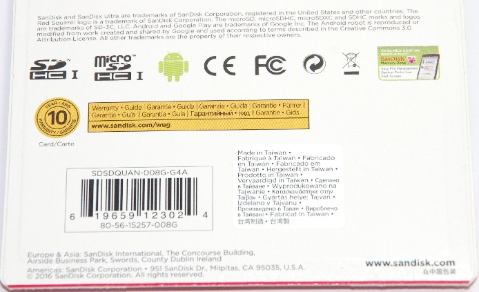 SanDisk サンディスク  microSDHCカード Ultra  8GB 48MB/s 320倍速  海外パッケージ版 変換アダプタ付き Class10 UHS-I 対応