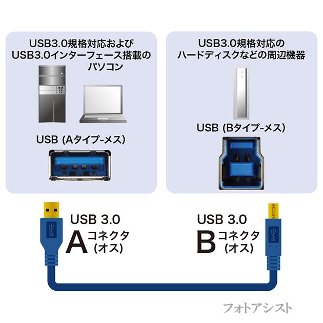 USB3.0ケーブル A-Bタイプ 3.0m スタンダードBタイプ ハードディスク・HDD接続などに  データ転送ケーブル 送料無料【メール便の場合】