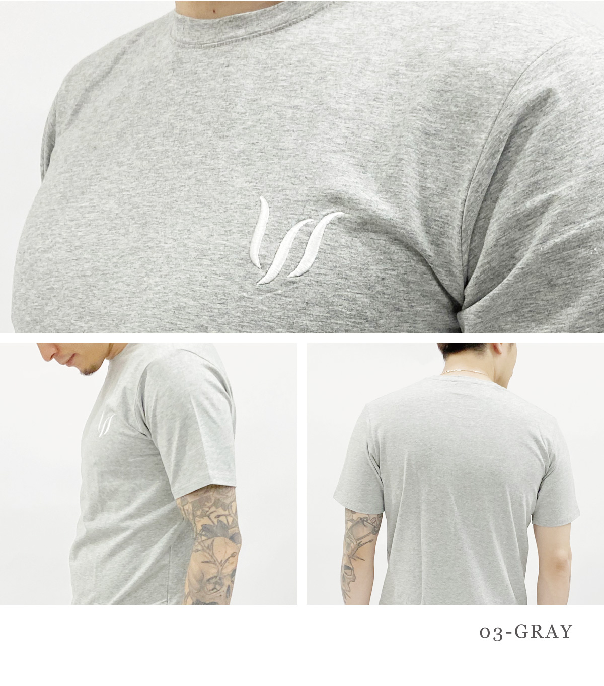 EMBROIDERY SHORT TEE - GRAY