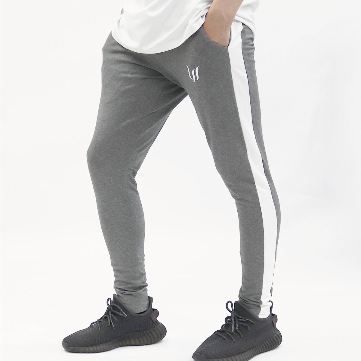 JOGGERS PANTS - CHARCOAL GRAY/WHITE
