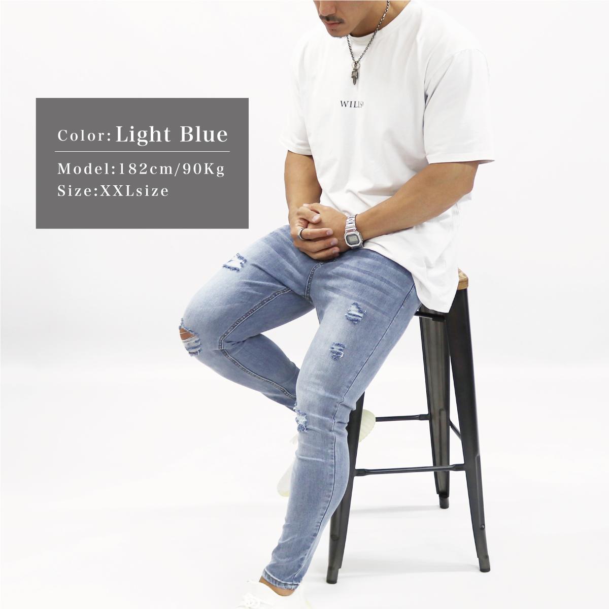 SUPER STRETCH SKINNY JEANS - LIGHT BLUE(ダメージ)