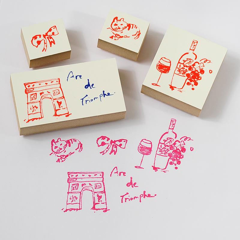 洋風シリーズ PARIS STAMP-凱旋門と猫-【アンティークスタンプ かわいいスタンプ オリジナルスタンプ パリ 凱旋門 リボン】