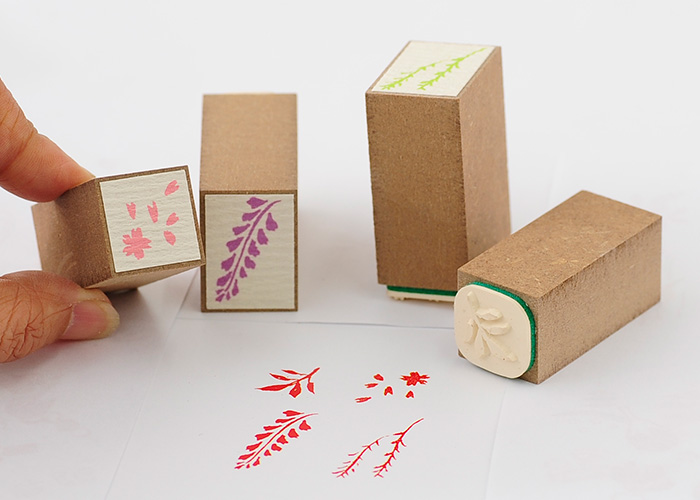 スタンプ工房愛オリジナル和柄スタンプ桐の箱に入った4本セット【かわいいスタンプ 和風スタンプ はんこ ハンコ ゴム印】