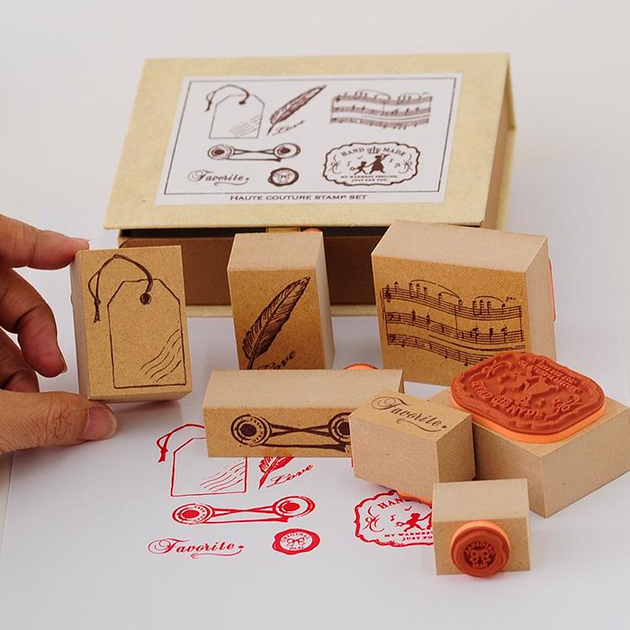 オートクチュールスタンプセット・hand made 【アンティークスタンプ かわいいスタンプ オリジナルスタンプ スタンプ ラベル タグ】