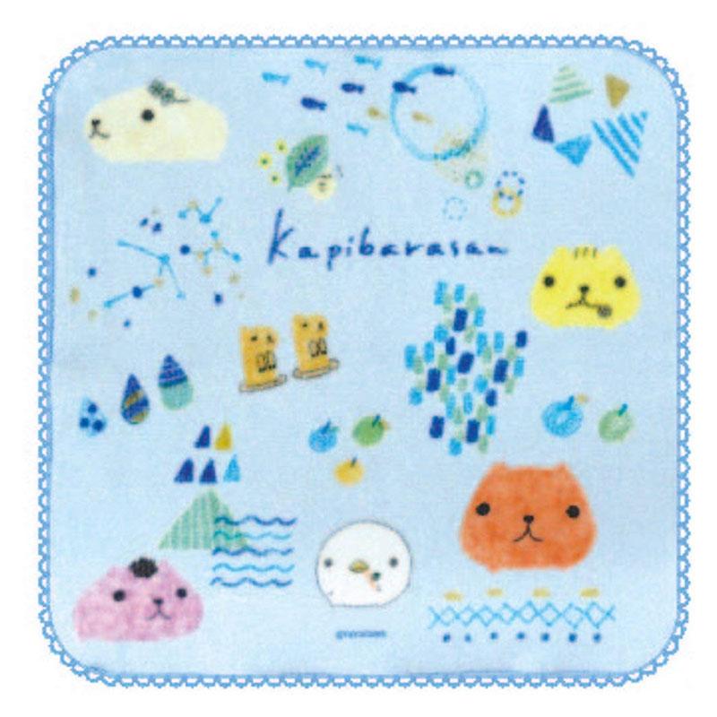 【ネコポス送料無料】 ミニタオル カピバラさん 色鉛筆ブルー 【代引き不可、他商品との同梱不可】