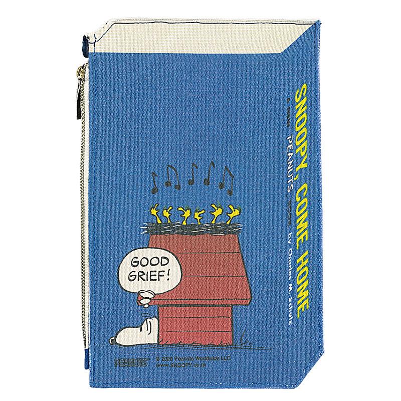 【ネコポス送料無料】 スヌーピー 2Dブック型ポーチ 70thアート ブルー 【代引き不可、他商品との同梱不可】