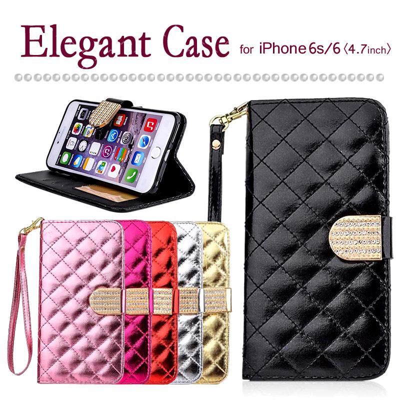【iPhone6s/6/4.7インチ】 手帳型ケース オシャレ 女子力アップ ギフトに最適 かわいい キラキラ スタンド可能で便利 キレイ  〈Elegant Case〉