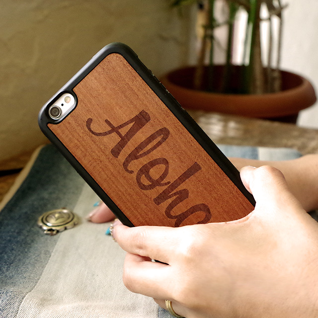 MY CASE 【iPhone 11/11Pro/11ProMax/XSMax/XS/X/XR/8/8Plus/7/7Plus/6s/6/SE/5s/5】  MY CASE iPhoneケース WOOD オリジナル ロゴ ALOHA 南国 ハワイ マイケース