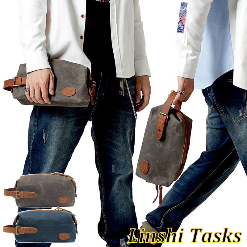 LINSHI TASKS  メンズ セカンドバッグ 帆布 大容量