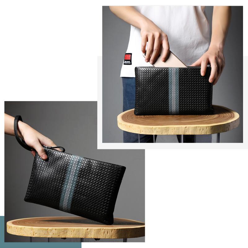HAUTTON  セカンドバッグ クラッチバッグ 編み込み風型押し 本革