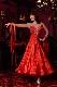 ビビッド・シルクサテンのすっきりレッド(赤)ドレス