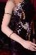 スパンコールがキラキラ光り印象的な紺色(ネイビー)ラテン・タイトスリットドレス
