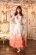 オーストリッチ縦羽仕様ホワイト・オレンジグラデーションドレス(白&オレンジ)