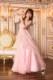 美しい背中が引き立つイブニングドレス風ベビーピンクドレス(ピンク)