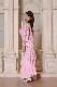 全身ビジューのスレンダーピンクドレス