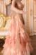 エレガントなレース飾りとフリルスカートが豪華なシャンパン(オレンジ)ドレス