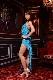 美脚ロングスリットターコイズブルー(明るい緑みの青)ドレス