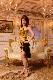 ホルターネック+セパレーツのゴールドブラック(金色と黒)ドレス