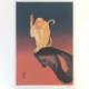 木版画 | N・S・ハルシャ《恥ずかしがりの猿 日出》 額装品
