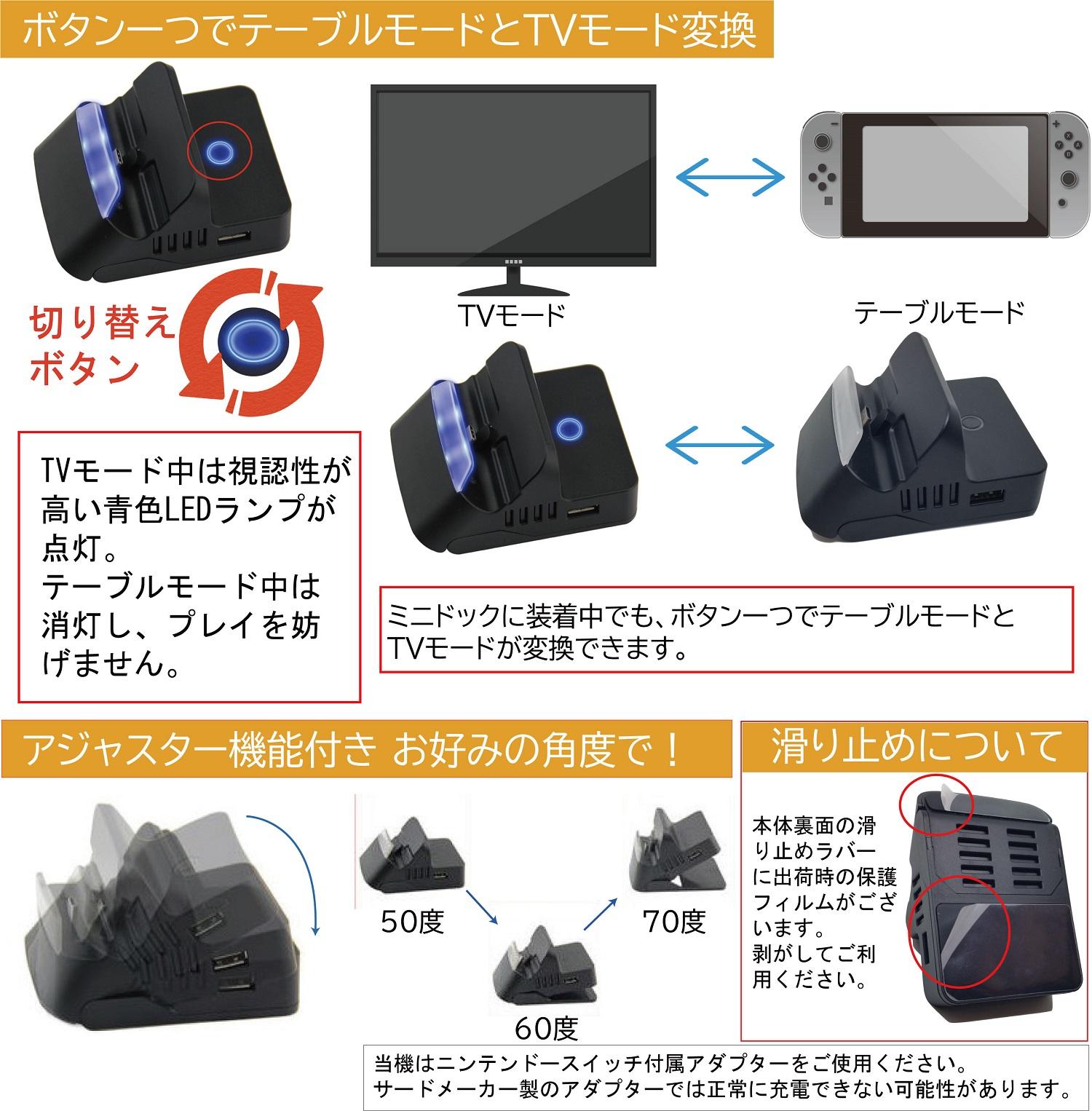 Nintendo Switch ミニドック 充電スタンド TV テレビ 出力 携帯 小型 充電しながら 持ち運び 旅行 おうち時間
