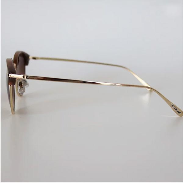 chachowl eyewear 7012 Brown Gold Sunglasses