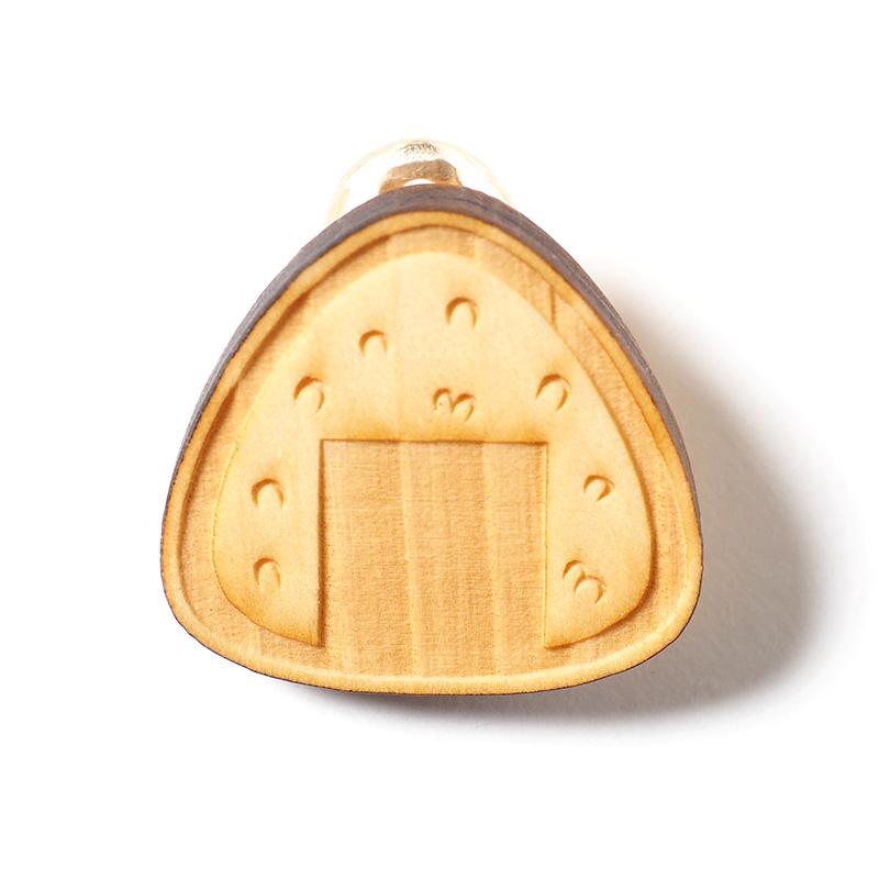 木製イヤリング / おにぎり