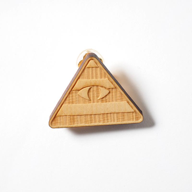 木製イヤリング / ピラミッド