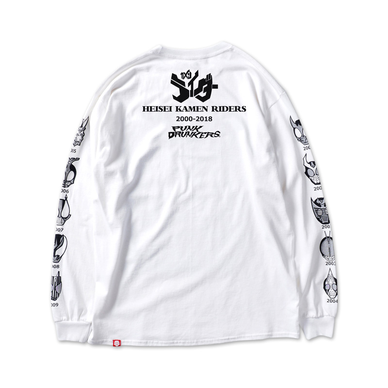 [PDSx仮面ライダー]平成ライダー顔ロンTEE(2000〜2009ver.)