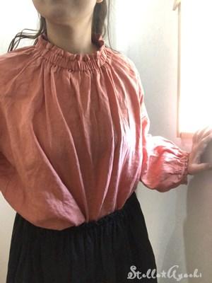 linen hi-neck shirt